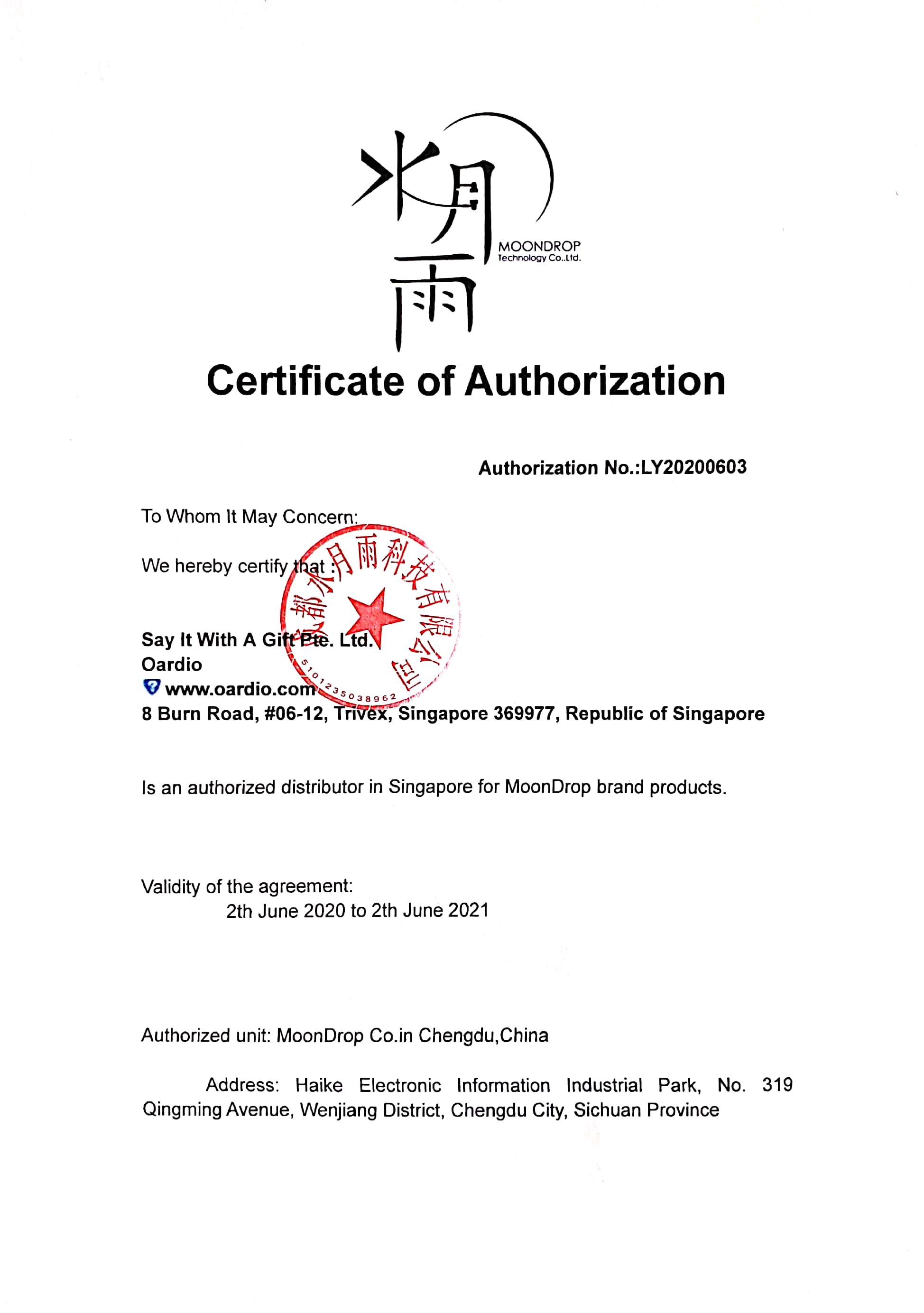 Moondrop Singapore Distributor Oardio Authorization Certificate